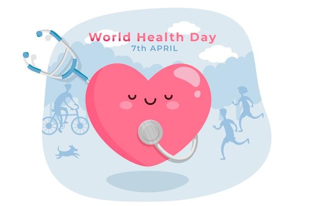 Плоский день мира здоровья концепция