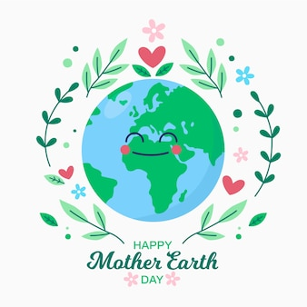 平らな母地球の日の概念