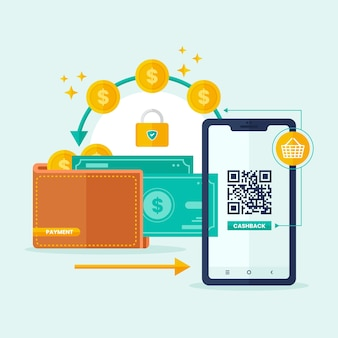 Концепция кэшбэка со смартфоном и деньгами