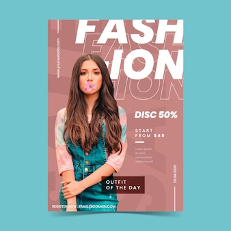 Красочный модный плакат с фото