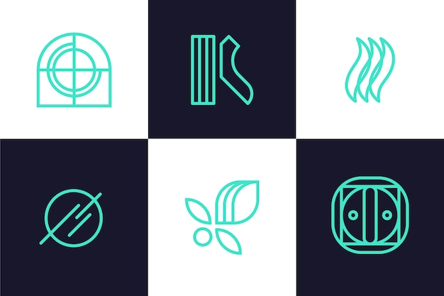 抽象的なシンプルな線形ロゴコレクション