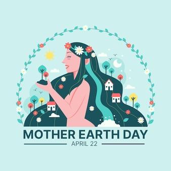 手描きの女性の側面図と母地球の日