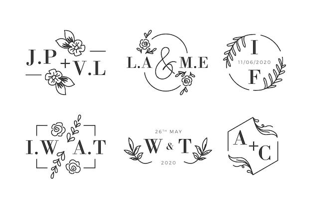 花の結婚式のモノグラムのロゴ