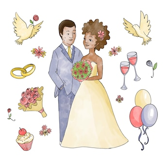 Иллюстрация с свадебной парой