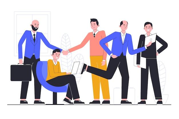 ビジネスの方々とイラストテーマ