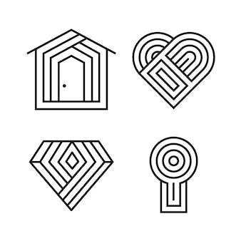 Абстрактный линейный логотип шаблон коллекции