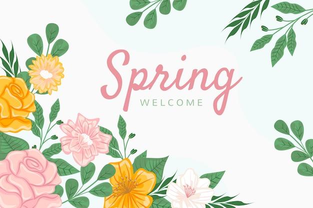ようこそ春のレタリングと花の背景