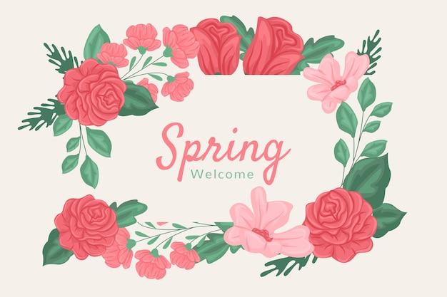 赤とピンクの春の花の背景