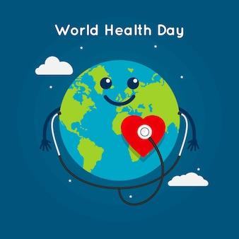 フラット世界健康日イラスト