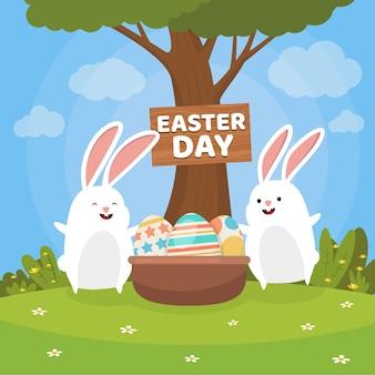 Плоские счастливые пасхальные кролики