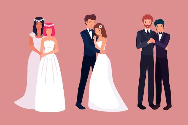 多様なパートナーとの結婚式のカップル