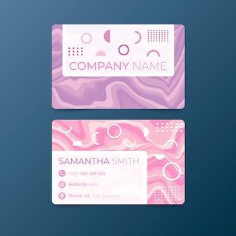 Шаблон минимальной визитной карточки волнистые линии