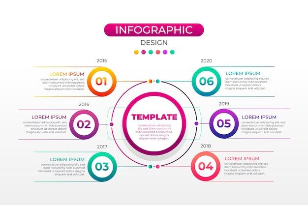 Разноцветный градиент инфографики с шагами