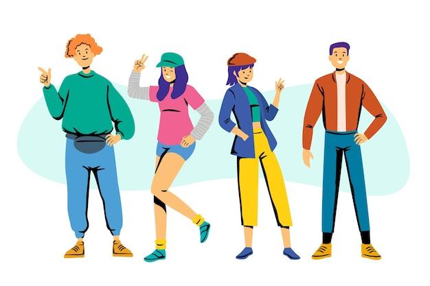 Дизайн иллюстрации с молодыми людьми