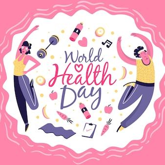 運動をしている世界保健デーの人々