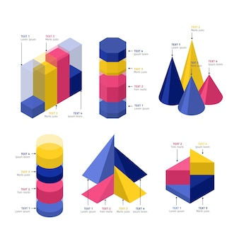 等尺性インフォグラフィック要素テンプレートコレクション