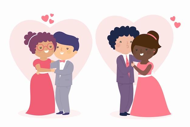 結婚式のカップルのイラスト集