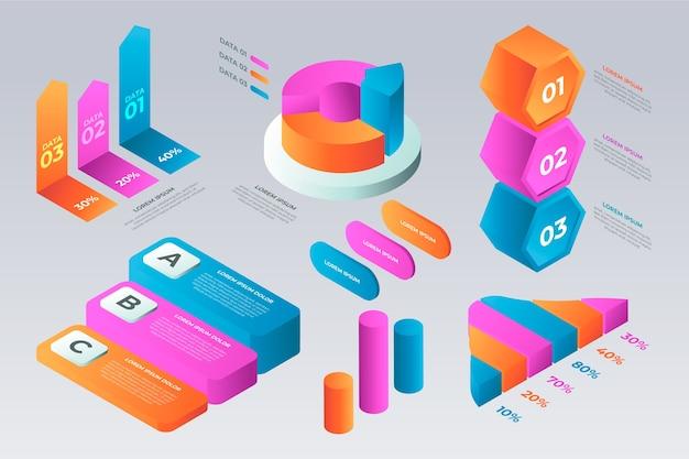複数の色の等尺性インフォグラフィックテンプレート