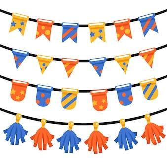 Украшение на день рождения с разноцветными гирляндами