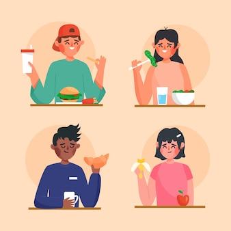 食物を持つ人々