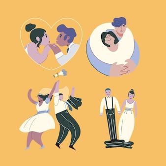 結婚式のカップルのコレクションをテーマにしたイラスト