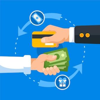 クレジットカードと紙幣のキャッシュバックの概念