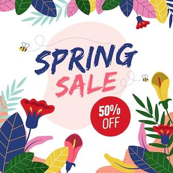 春の販売フラットデザイン
