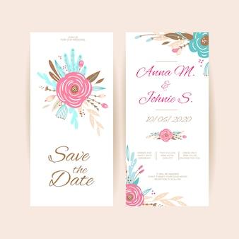 Весенние цветочные свадебные приглашения коллекции шаблонов