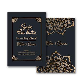 Роскошные свадебные приглашения в стиле шаблона