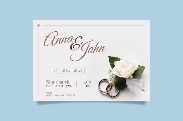 白いバラの写真と結婚式の招待状のテンプレート