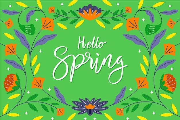 こんにちは春のレタリングの壁紙