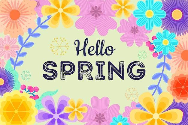 こんにちは春の花のフレームの背景を持つレタリング