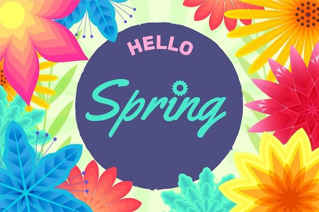 こんにちは春の花の背景