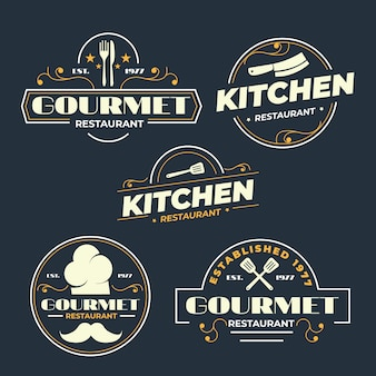 レストランのロゴのレトロなデザイン