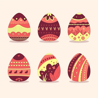 手描きの赤と黄色の塗装卵