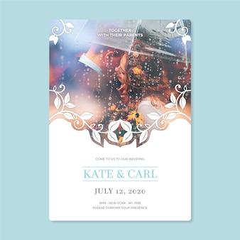 新郎新婦の結婚式招待状のテンプレート