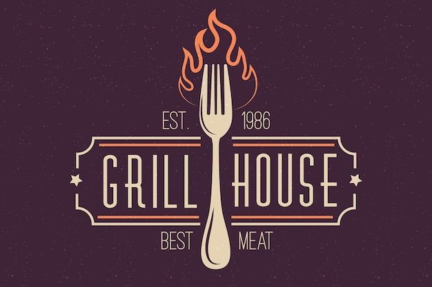 フォークでレトロなレストランのロゴ