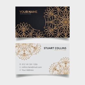 Шаблон визитки с дизайном мандалы
