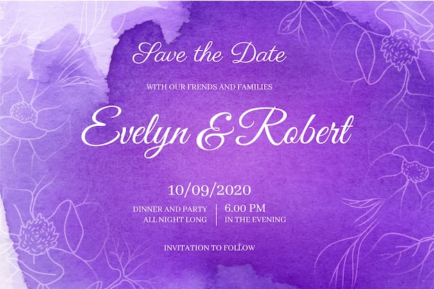 Шаблон свадебного приглашения в акварели