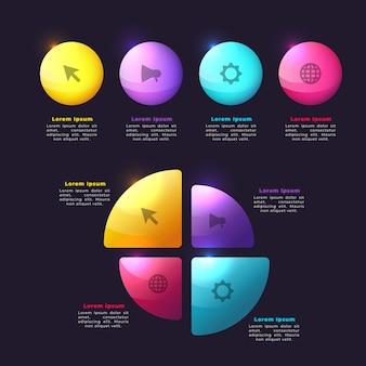 Концепция градиента инфографики элементы