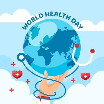 Плоский дизайн всемирный день здоровья концепция