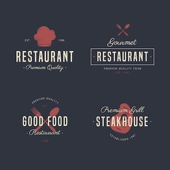 レトロなレストランのロゴコレクションのセット