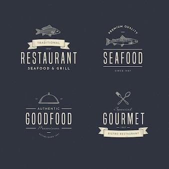 Коллекция логотипов ресторана ретро