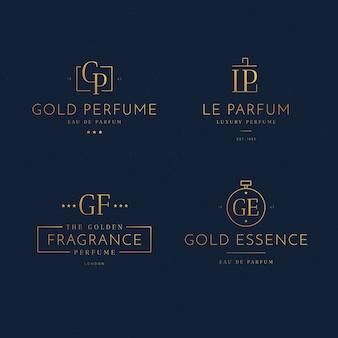 Концепция коллекции логотипов роскошных духов