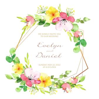 Свадебная цветочная рамка пригласительный билет