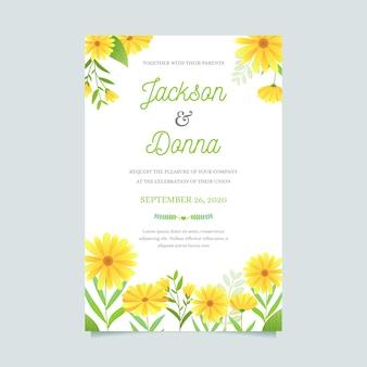 Шаблон свадебного приглашения в цветочном стиле