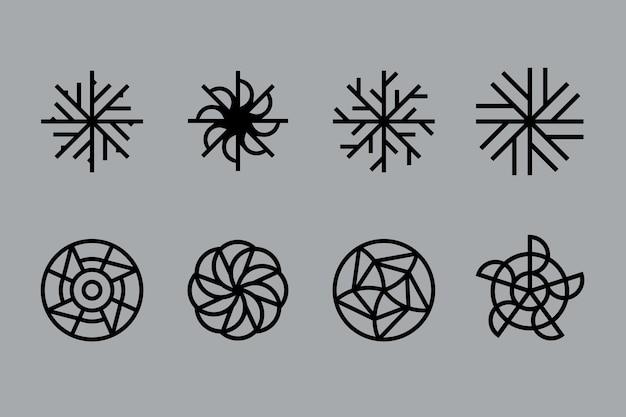抽象的な直線的なデザインのロゴのコレクション