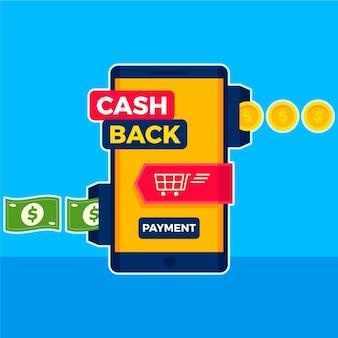 Концепция кэшбэка со смартфоном и банкнотами