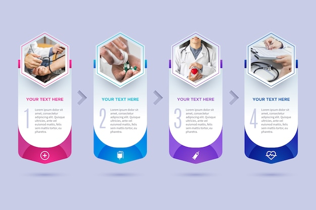 Медицинский инфографики шаблон с фотографией