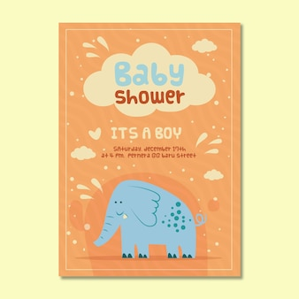 Приглашение детского душа для мальчика со слоном
